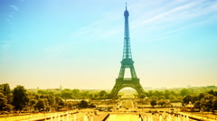 Cityscape with Eiffel tower and Trocadero. Paris, France. Timelapse, 4K Stock Footage