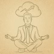 Peaceful businessman meditating - stock illustration