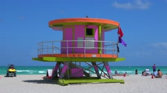Typical rescue house in Miami Beach Stock Footage