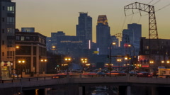 Sunset on Minneapolis and Dinkytown - stock footage