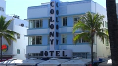 Colony Hotel at Ocean Drive Miami Beach Stock Footage
