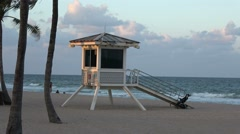 Rescue tower at Fort Lauderdale beach Stock Footage