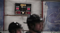 Final countdown in last period of hockey match on scoreboard, home team wins Stock Footage