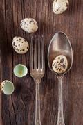 Vintage silverware with quail eggs Stock Photos