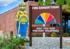Smokey the Bear and Fire Danger Sign Stock Photos