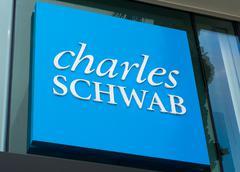 Charles Schwab Sign and Logo Stock Photos
