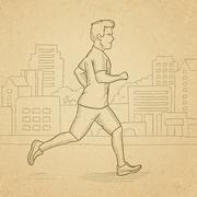 Sportive man jogging - stock illustration