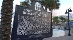 Sign Fort Lauderdale Beaches Stock Footage