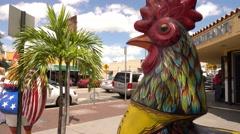 Cock statue on Calle Ocho Little Havana Miami Stock Footage