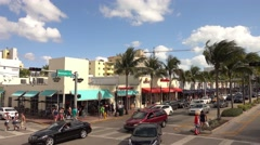 Collins Av Street view in Miami Beach Stock Footage