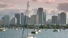 Miami skyline view from sightseeing cruise Stock Footage