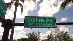 Street sign Collins Av in Miami Beach Stock Footage