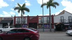 Street view of Calle 8 in Little Havana Miami Stock Footage