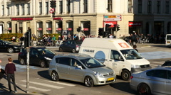 Time Lapse of Traffic and People in Downtown Copenhagen Denmark - stock footage