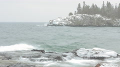 Winter Over Lake Superior's Ellingson Island Stock Footage