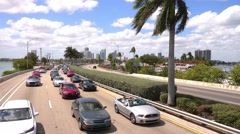 Traffic on Mc Arthur Causeway Bridge to Miami Beach Stock Footage