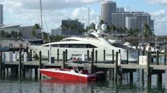 Luxury Yacht at Port Miami Stock Footage