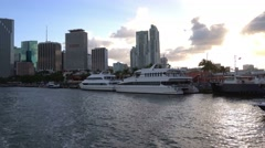 Luxury yachts at Miami Bayside Stock Footage