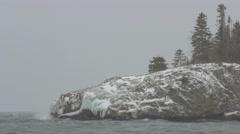 Winter Over Ellingson Island on Lake Superior Stock Footage