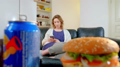 Girl refuses to eat junk food Stock Footage