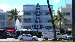 Famous Colony Hotel and Boulevard Hotel in Miami Beach Stock Footage