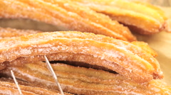 Bunch of churros covered with granulated sugar. Stock Footage
