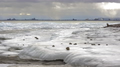 Lake Superior's Brighton Beach Leading to Duluth 4K Timelapse Stock Footage