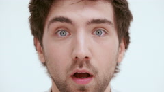 Shocked discouraged man. Close up Stock Footage