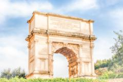 Defocused background with Arch of Titus in Rome, Italy Stock Photos