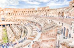 Defocused background with Interior of Flavian Amphitheatre, aka Colosseum, Ro - stock photo