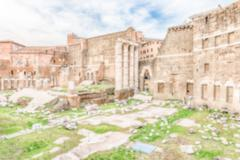 Defocused background with ruins at Forum of Augustus, Rome, Italy Stock Photos