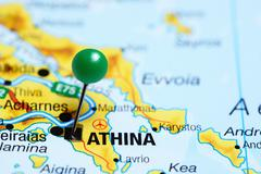 Athens pinned on a map of Greece - stock photo