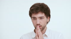 Pensive worried man hoping.  Close up Stock Footage