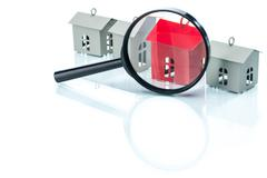 House search concept, house model with magnifying Stock Illustration