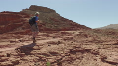 Mountain tourism and recreation. Walking in the desert. Stock Footage