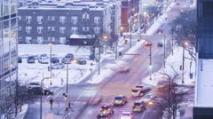 A Downtown Minneapolis Intersection During Rush Hour in Winter 4K Timelapse - stock footage