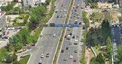4k busy urban traffic on overpass,urban morden building,china. Stock Footage