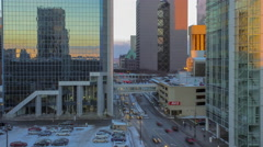 Downtown Minneapolis Intersection, Traffic, and Sunset 4K Timelapse Stock Footage