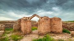 4K Timelapse Old castle ruins in the ancient city Sauran, Kazakhstan - stock footage