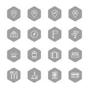 line travel icon set on gray hexagon - stock illustration