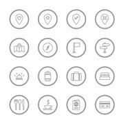 Gray line travel icon set with circle frame Stock Illustration