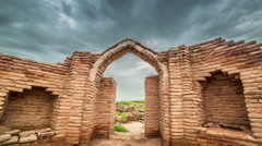 4K Timelapse Ruins castle of the UNESCO heritage site in city of Sauran Stock Footage