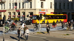 Time Lapse of Traffic and People in Downtown Copenhagen Denmark Stock Footage