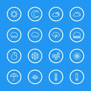 white line weather icon set with circle frame - stock illustration