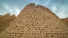 4K Timelapse Brick wall of the ancient city of Sauran, Kazakhstan Stock Footage