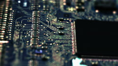 Circuit Board / Processor Chips / Data Streams Stock Footage