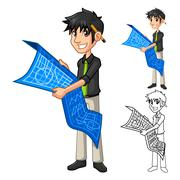 Architect Holding Blue Print Map Plan - stock illustration