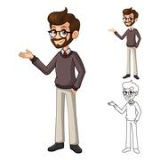 Businessman Hipster with Welcoming Arm - stock illustration