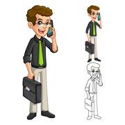 Businessman Holding Smart Phone and Briefcase - stock illustration