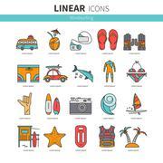 Icon set windsurfing - stock illustration
